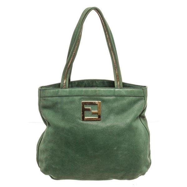 Fendi Green Leather Tote Bag