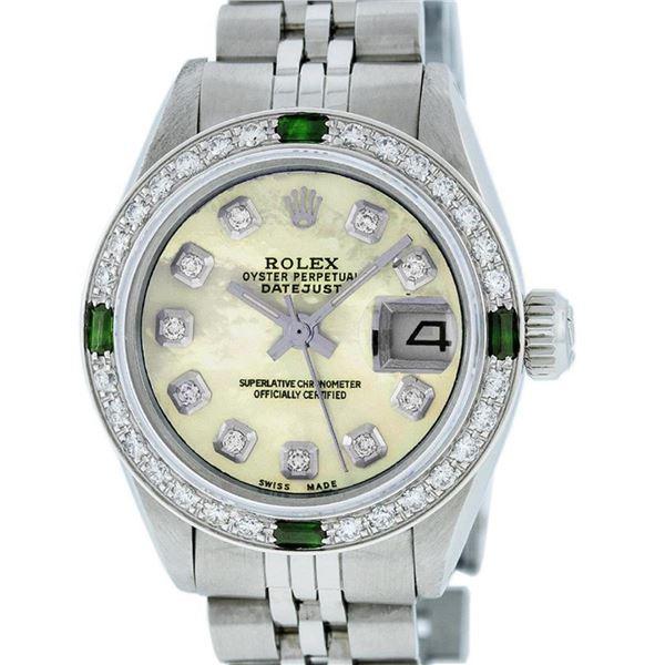 Rolex Ladies Stainless Steel Yellow MOP Diamond & Emerald Datejust Wristwatch