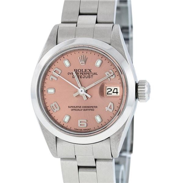 Rolex Ladies Stainless Steel Salmon Dial 26MM Oyster Band Datejust Wristwatch