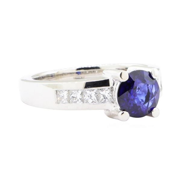 1.93 ctw Sapphire And Diamond Ring - 14KT White Gold