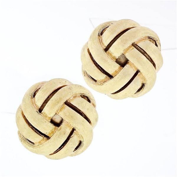Vintage 14k Yellow Gold Brushed Finish Infinity Knot Omega Button Earrings