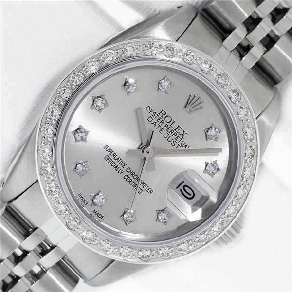 Rolex Ladies Stainless Steel Silver Star Diamond Datejust Wristwatch
