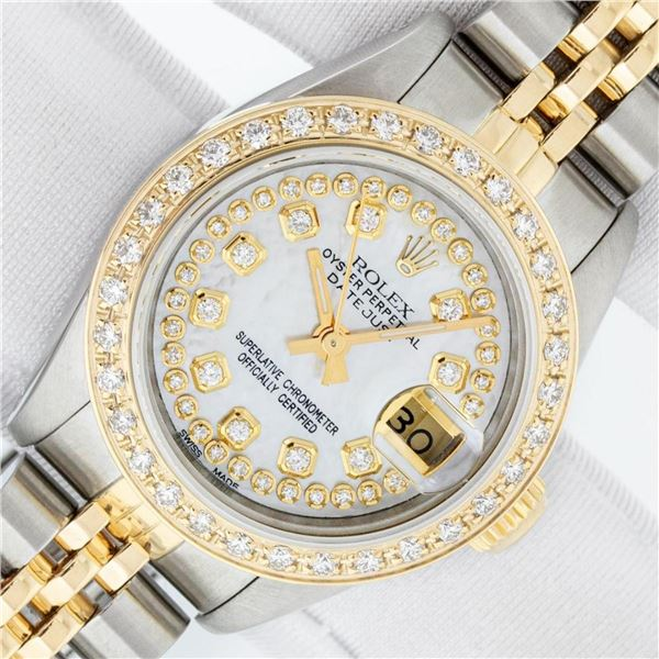 Rolex Ladies 2 Tone MOP String Diamond Oyster Perpetual Datejust Wristwatch With