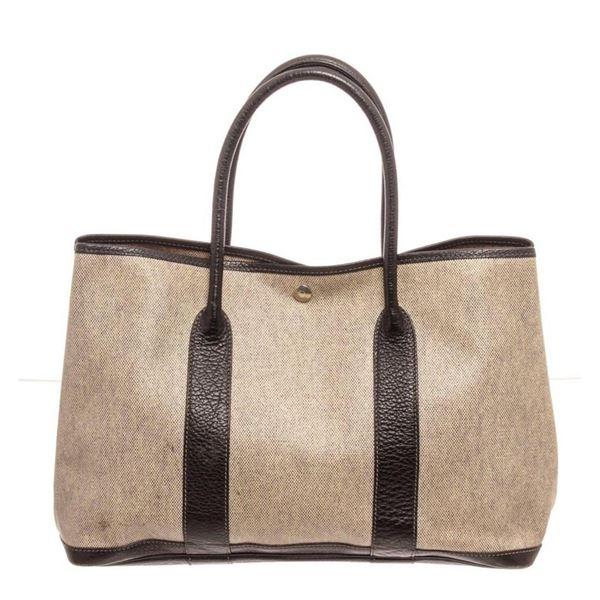 Hermes Black Brown Garden Party 36 Totes Bag