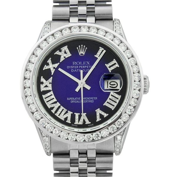 Rolex Mens Stainless Steel Blue Vignette Roman 3 ctw Diamond Datejust Wristwatch