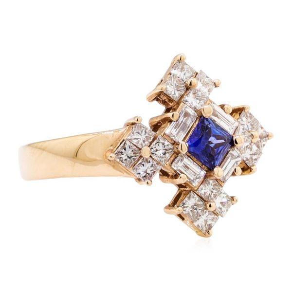 1.16 ctw Princess Brilliant Blue Sapphire And Baguette Cut Diamond Ring - 14KT R