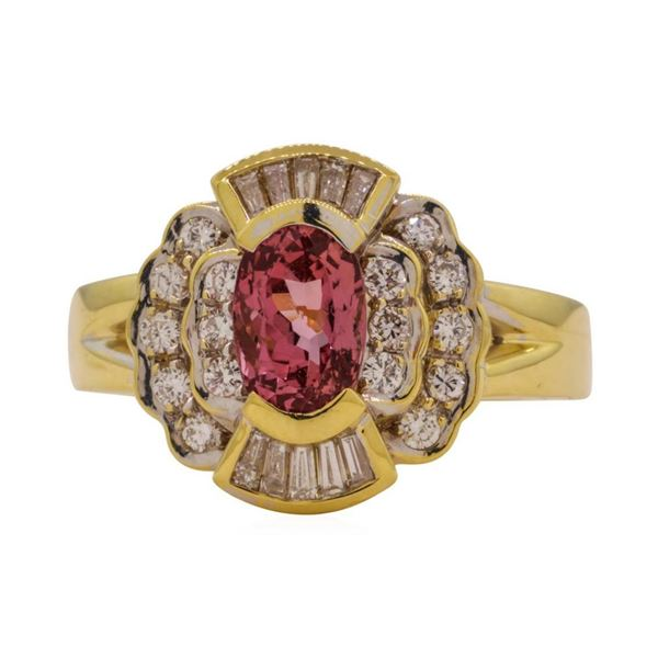 1.82 ctw Pink Spinel and Diamond Ring - 18KT Yellow Gold