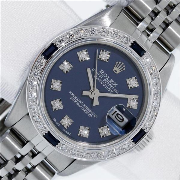 Rolex Ladies Stainless Steel Blue VVS Diamond & Sapphire Datejust Wristwatch