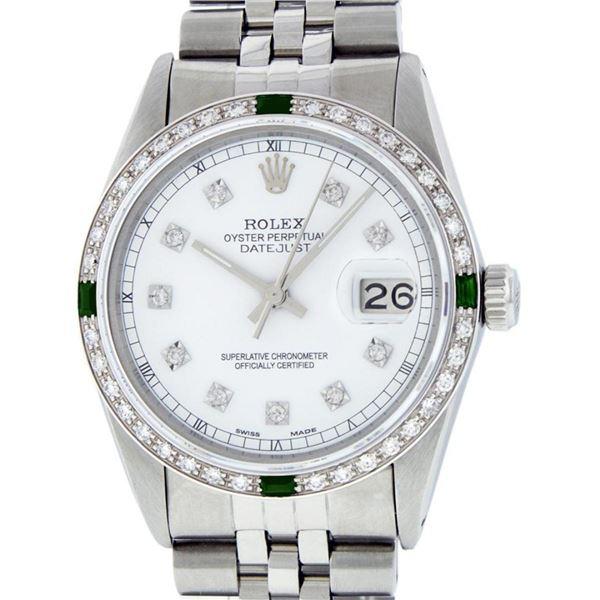 Rolex Mens Stainless Steel White Diamond & Emerald 36MM Datejust Wristwatch