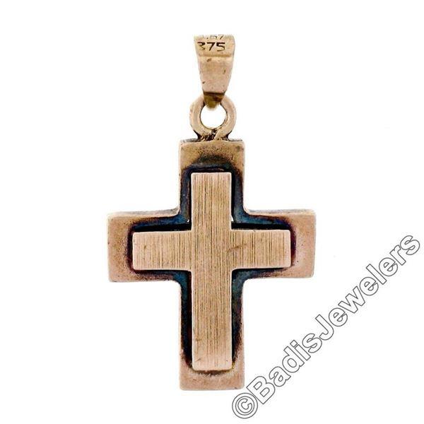 Victorian 8kt Rose Gold Reversible Brushed Finish Cross Pendant