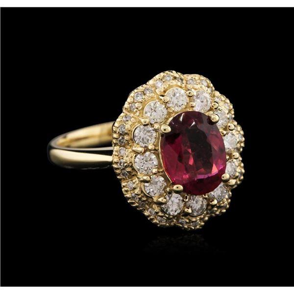 14KT Yellow Gold 1.77 ctw Tourmaline and Diamond Ring