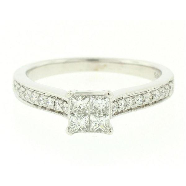 14k White Gold 0.79 ctw Illusion Solitaire Princess Cut Diamond Engagement Ring