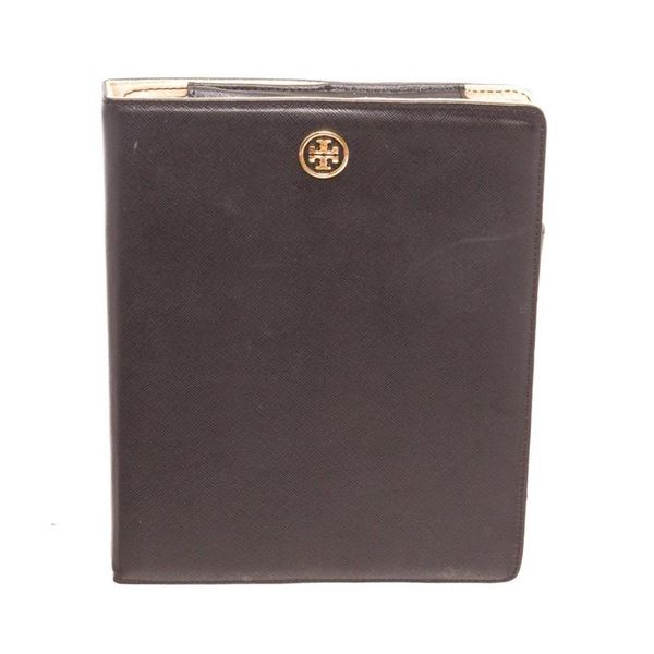 Tory Burch Black Leather Robinson Flip Tablet Case