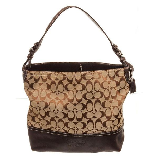 Coach Brown Canvas Leather Shoulder Bag