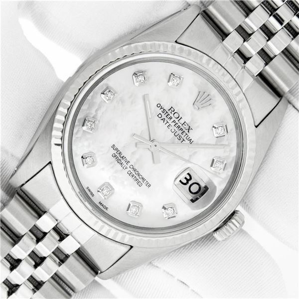 Rolex Mens Stainless Mother Of Pearl Diamond 36MM Datejust Wristwatch With Rolex