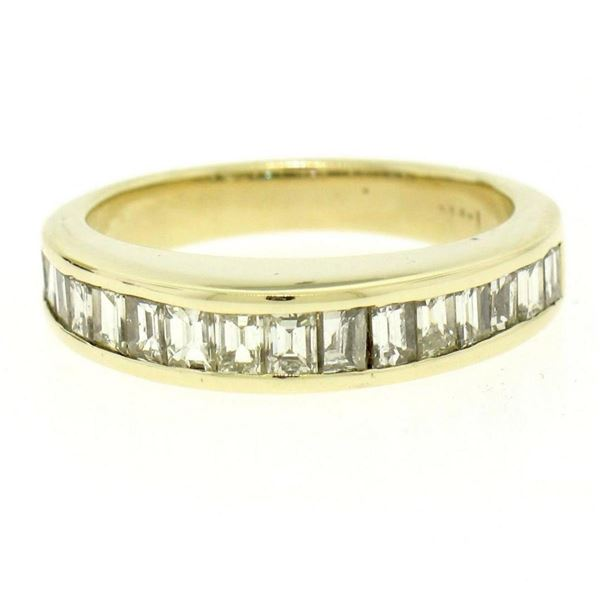 14kt Yellow Gold 1.00 ctw Baguette Diamond Channel Domed Wedding Band Ring