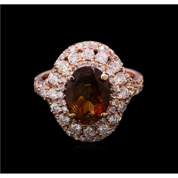 2.75 ctw Green Tourmaline and Diamond Ring - 14KT Rose Gold