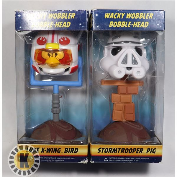 TWO STAR WARS ANGRY BIRDS BOBBLE HEADS