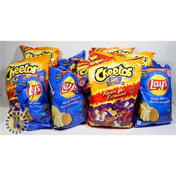 BOX OF ASSORTED CHIPS AND JUNK FOOD