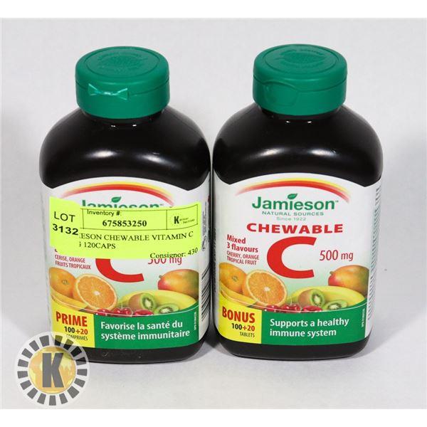 2 JAMIESON CHEWABLE VITAMIN C 500MG 120CAPS