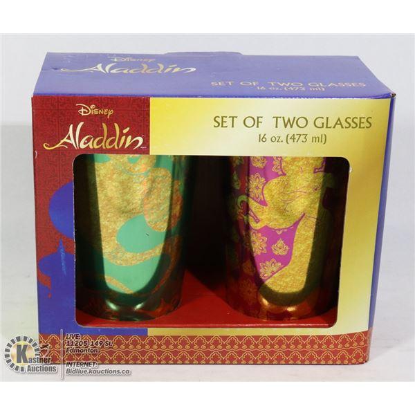 NEW SET OF DISNEY ALADDIN DRINK GLASSES