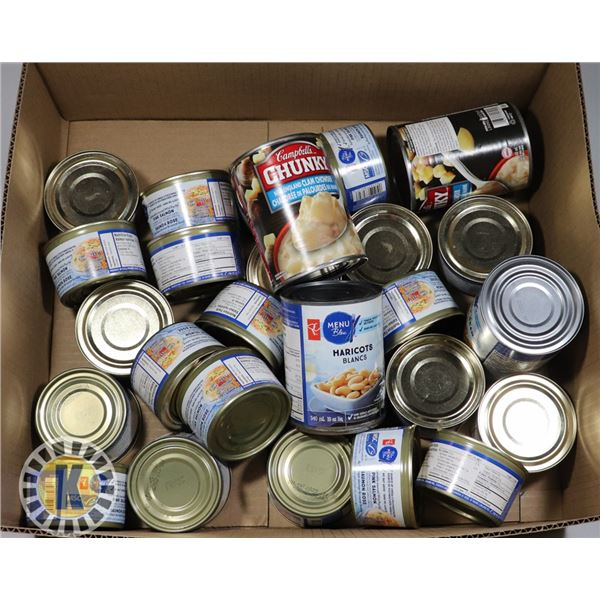 BOX OF ASSORTED CAN FOODS