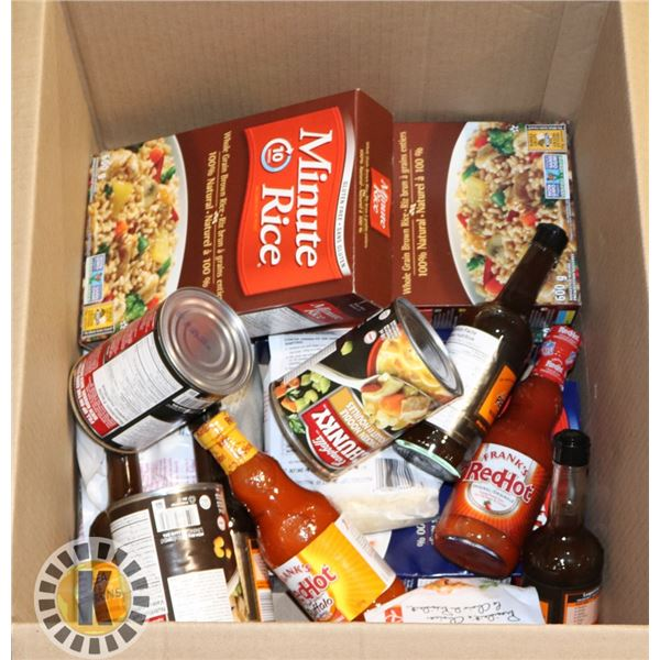 BOX OF RICE, FRANKS RED HOT, AND MORE