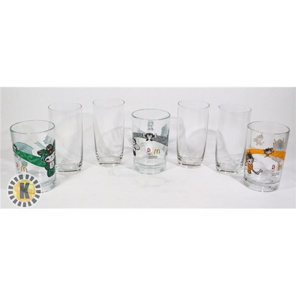 3 TALL GLASSES AND 3 TALL MCDONALD'S GLASSES