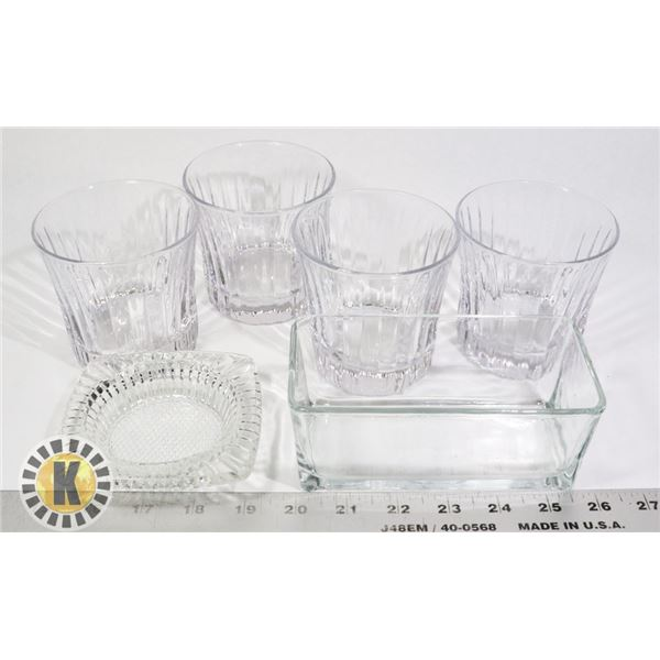 4 SHORT GLASSES, GLASS  ASH TRAY AND DISH