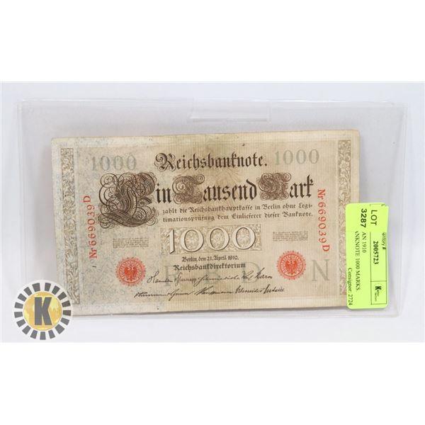 14)  GERMAN 1910 REICHSBANKNOTE 1000 MARKS.