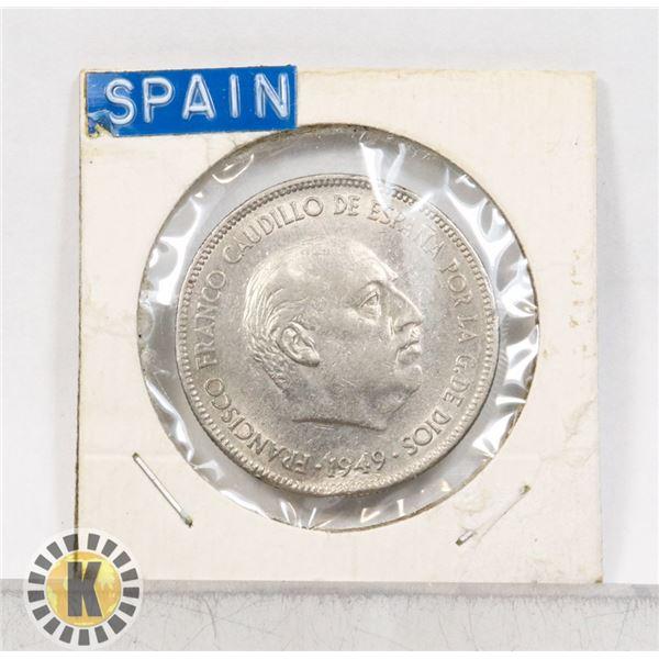 12)  SPAIN 1949 (50) 5 PESETAS COIN.
