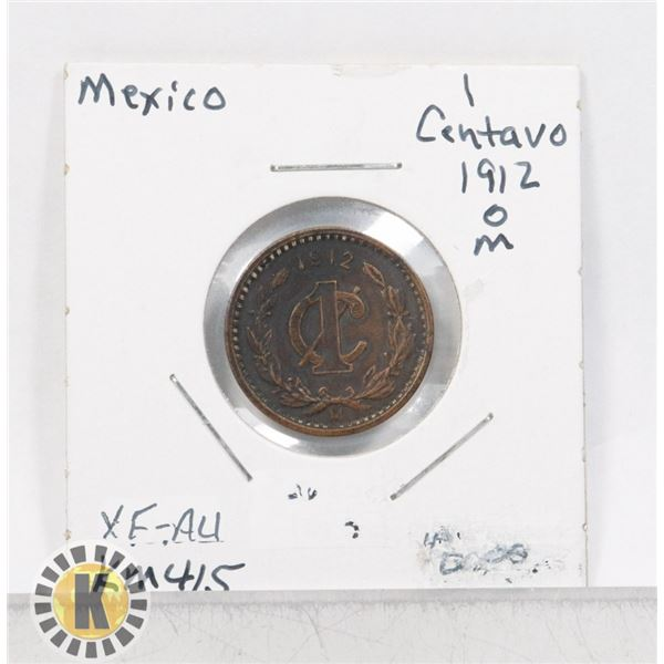 11)  MEXICO 1912 M 1 CENTAVO COIN.