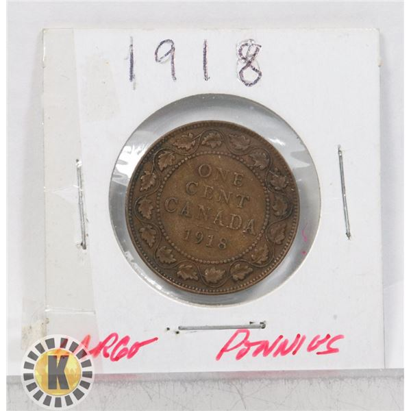 13)  CANADIAN 1918 LARGE PENNY.