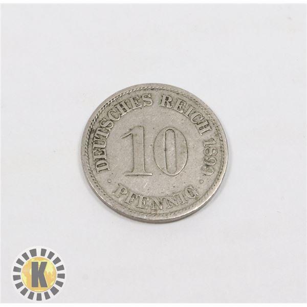9)  GERMAN 10 PHENNIG 1899A COIN.