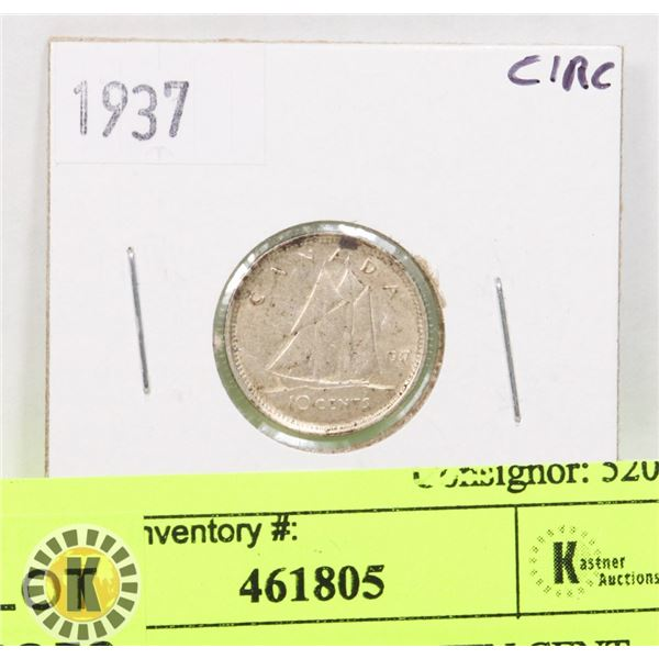 1937 CANADIAN SILVER TEN CENT COIN