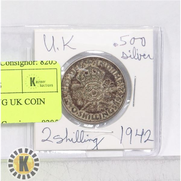 1 .500 SILVER 2 SHILLING UK COIN