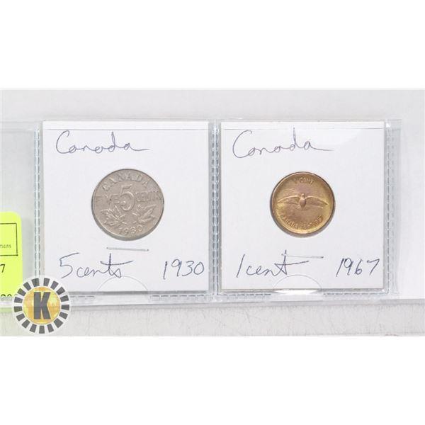 2 COINS CANADA 1930 NICKEL 1967 PENNY