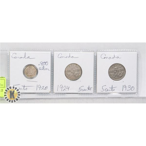 3 CANADA 5 CENT COINS 1 SILVER 2 NICKEL 1920 .800