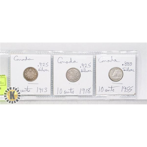 3 CANADA SILVER 10 CENT COINS 1913 .925 SILVER 191