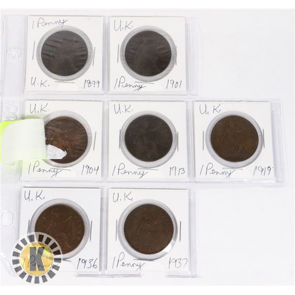 7 LARGE UK PENNIES DATED 1899 TO 1937