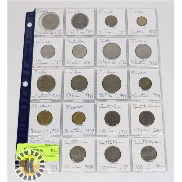 20 COINS 6 DIFFERENT COUNTRIES