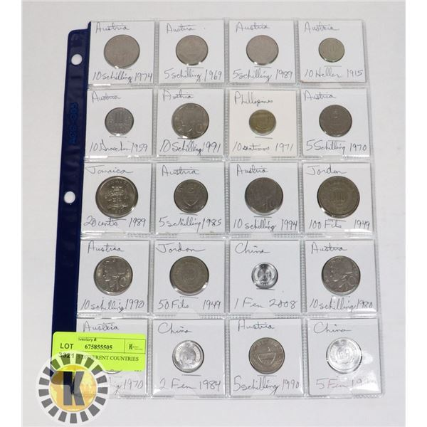 20 COINS 5 DIFFERENT COUNTRIES