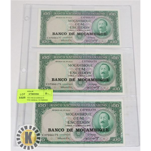 3 BANKNOTES MOZAMBIQUE CONSECUTIVE SERIAL NUMBERS