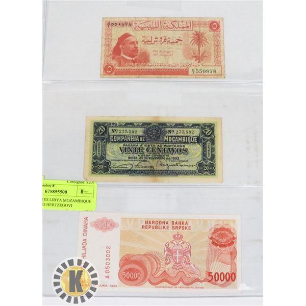 3 BANKNOTES LIBYA MOZAMBIQUE BOSNIA AND HERZEGOVINA