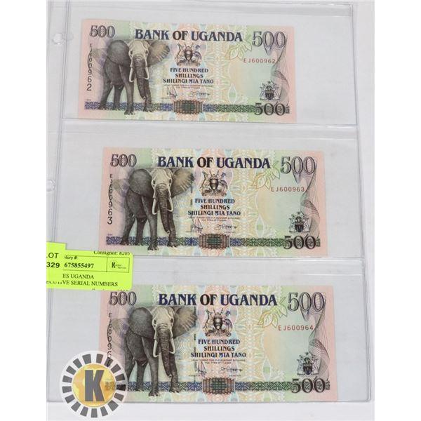 3 BANKNOTES UGANDA CONSECUTIVE SERIAL NUMBERS