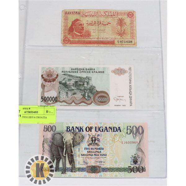 3 BANKNOTES LIBYA CROATIA UGANDA