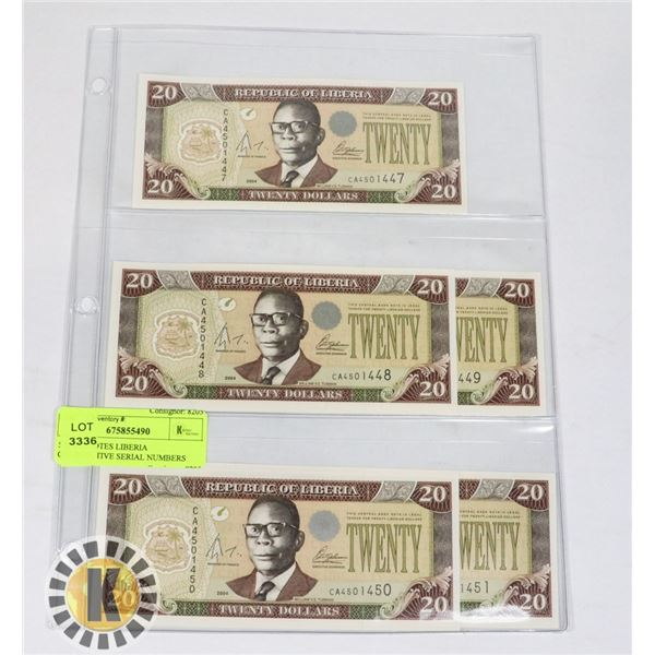 5 BANKNOTES LIBERIA CONSECUTIVE SERIAL NUMBERS