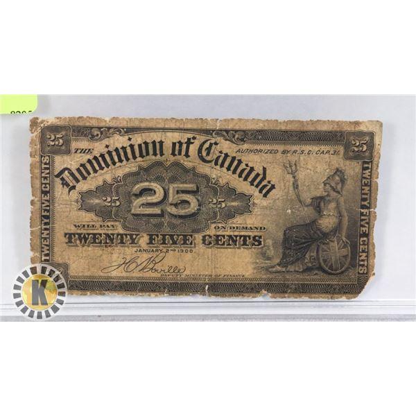 1 BANKNOTE CANADA 25 CENT SHINPLASTER 1900