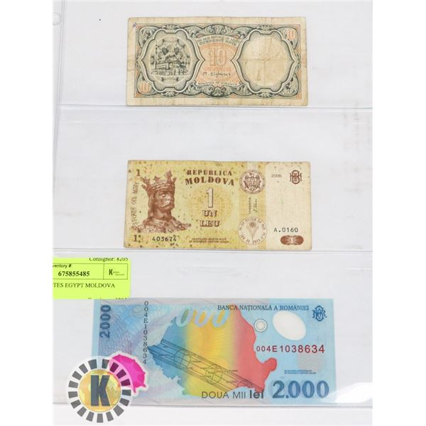 3 BANKNOTES EGYPT MOLDOVA ROMANIA
