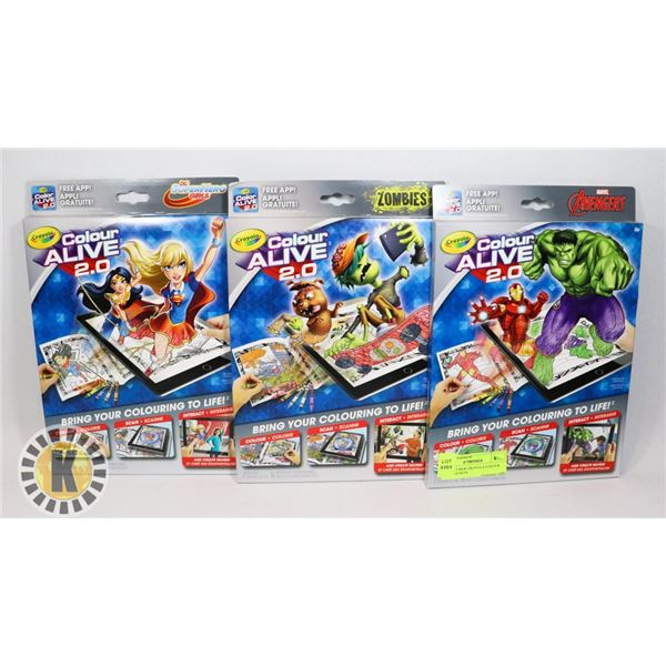 LOT OF 3 NEW CRAYOLA COLOUR ALIVE 2.0 SETS